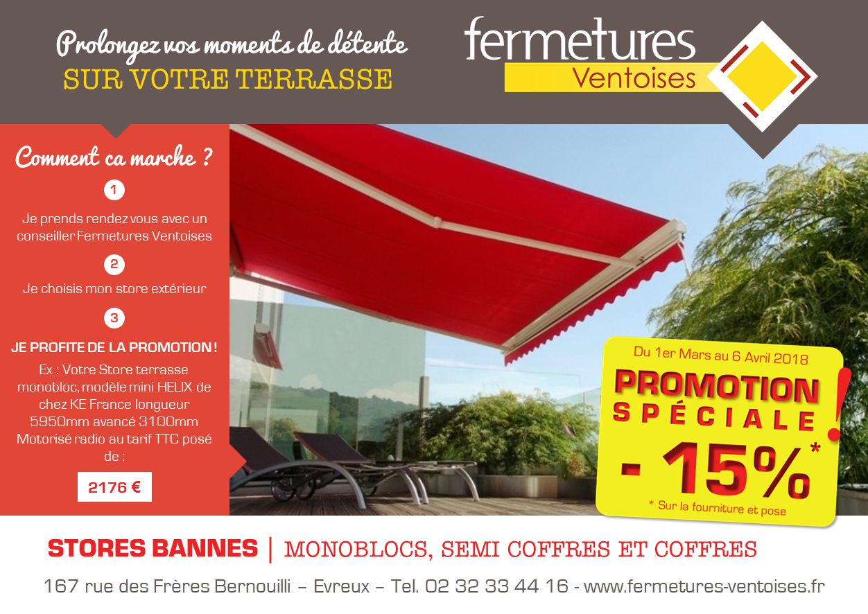 Promotion Store terrasse Mars 2018